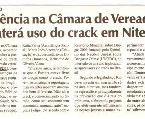 Audiência na Câmara de Vereadores debaterá uso do crack em Niterói